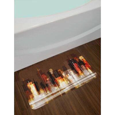 Abstract Brown Multicolor City Bath Rug