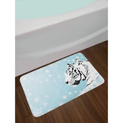 White Turquoise Black Tiger Bath Rug