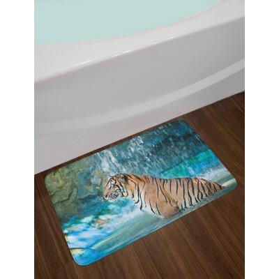 Feline Turquoise Pale Brown Black Tiger Bath Rug