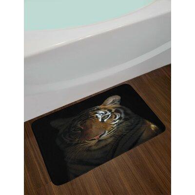 King Dark Orange Black Tiger Bath Rug