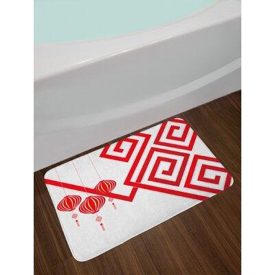 Chinese White Red Lantern Bath Rug