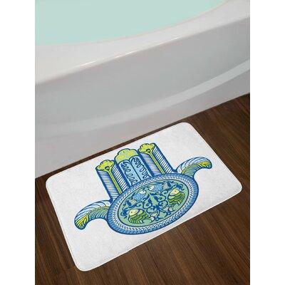 Asian Blue Green Yellow Hamsa Bath Rug