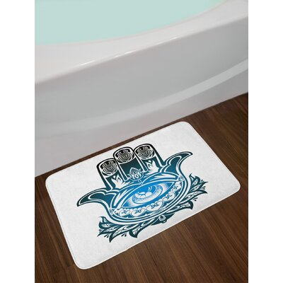 Evil Black Blue White Hamsa Bath Rug