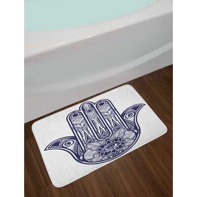 Arabic Navy Blue Hamsa Bath Rug