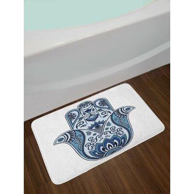 Mystical Pale Blue Indigo Baby Blue Hamsa Bath Rug