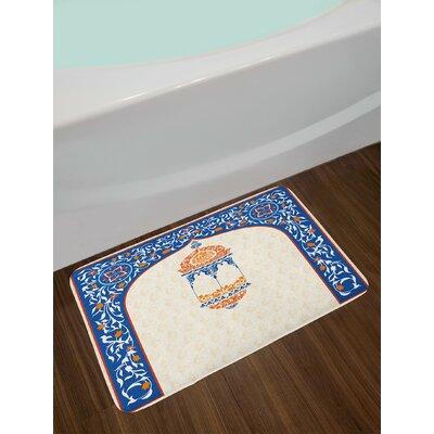 Religious Blue White Orange Lantern Bath Rug