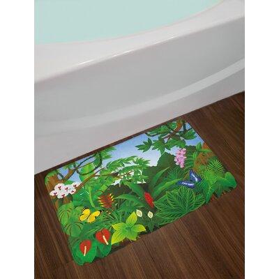 Cartoon Emerald Multicolor Plant Bath Rug