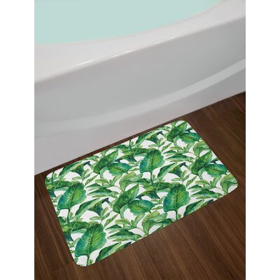 Equatorial Green Jade Green Plant Bath Rug
