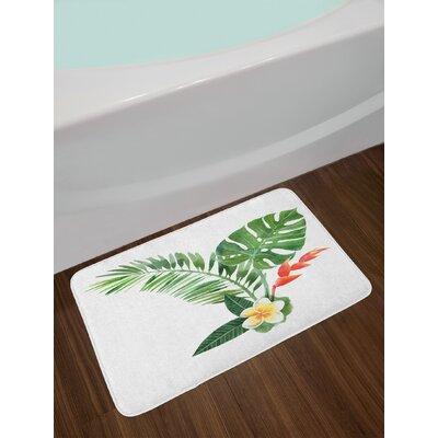 Beautiful Scarlet Fern Green Marigold Plant Bath Rug
