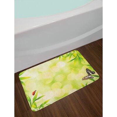 Ladybug Pale Green Multicolor Plant Bath Rug