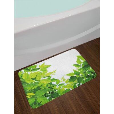 Beautiful Apple Green Plant Bath Rug