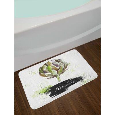 Hand Fern Green and Black Artichoke Bath Rug