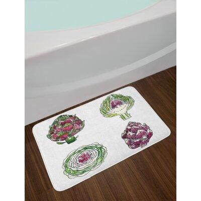 Vegetables Magenta and Fern Green Artichoke Bath Rug