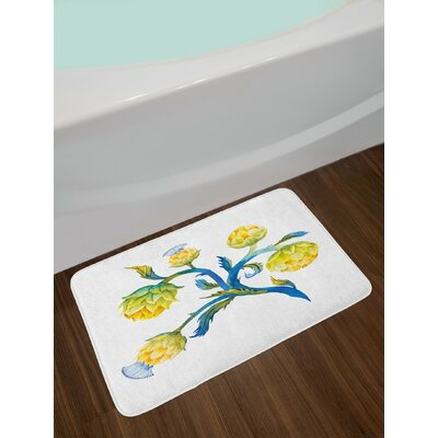 Abstract Violet Blue and Earth Yellow Artichoke Bath Rug