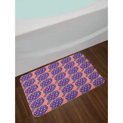 Violet Coral and Violet Artichoke Bath Rug