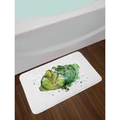 Abstract Hunter Green and Lime Green Artichoke Bath Rug