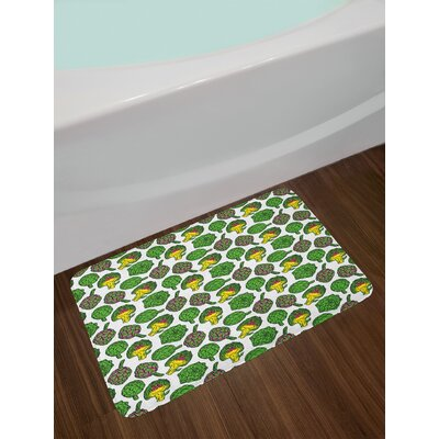 Vivid Yellow and Fern Green Artichoke Bath Rug
