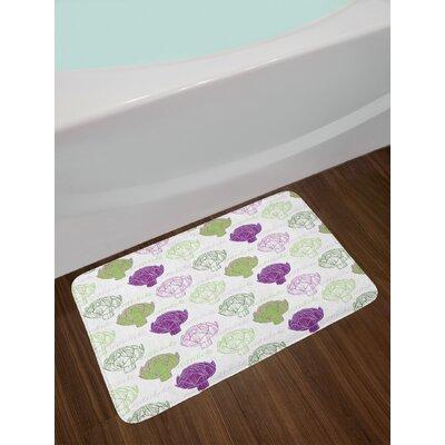 Sketch Lime Green and Purple Artichoke Bath Rug