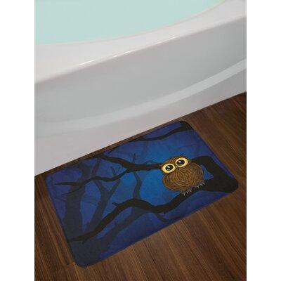 Cute Navy Blue Black Brown Night Bath Rug