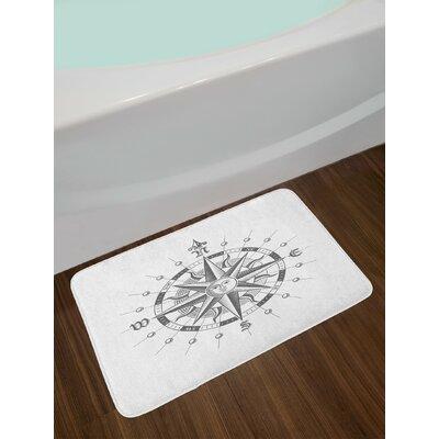 Hand Grey Compass Bath Rug