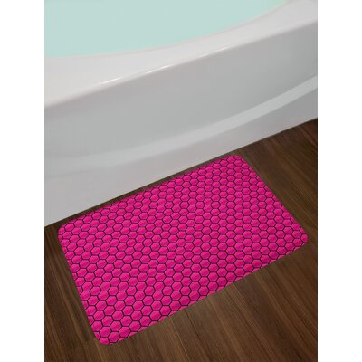 Honeycomb Hot Pink Black Hot Pink Bath Rug