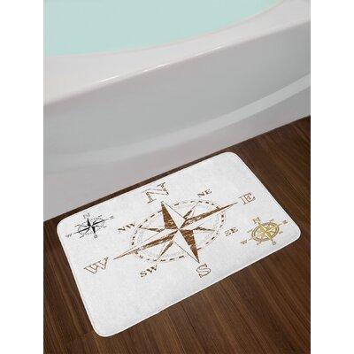 Calming White Brown Compass Bath Rug