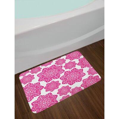Ethnic Hot Pink White Hot Pink Bath Rug