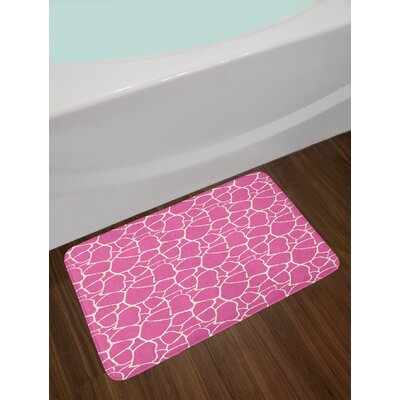 Abstract Pink White Hot Pink Bath Rug