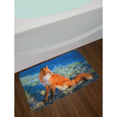 Serene Blue White Orange Fox Bath Rug