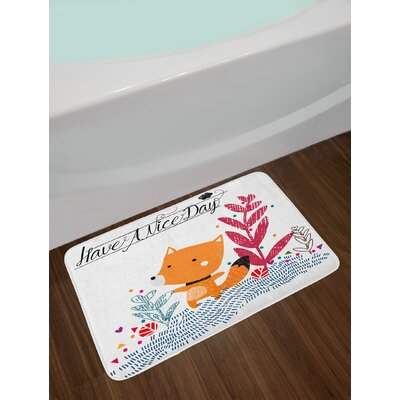 Cute Multicolor Fox Bath Rug