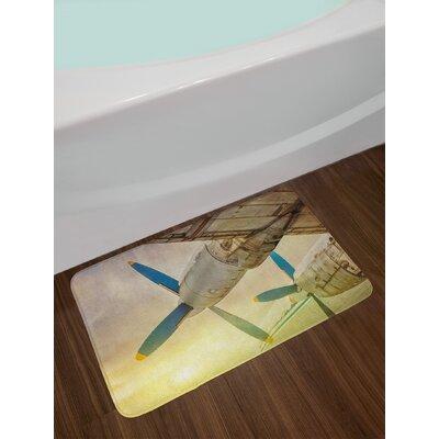 Old Brown Blue Yellow Vintage Airplane Bath Rug