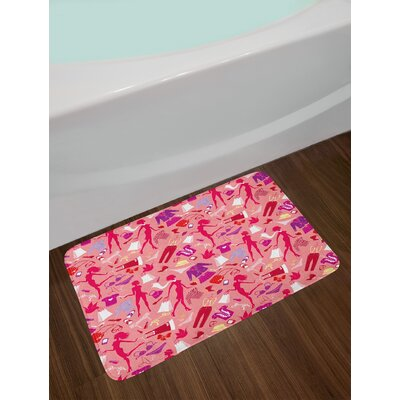 Girl Multicolor Heels and Dresses Bath Rug