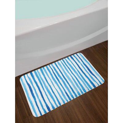 Watercolor Violet Blue White Harbour Stripe Bath Rug