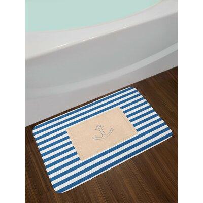 Maritime Violet Blue Peach White Harbour Stripe Bath Rug