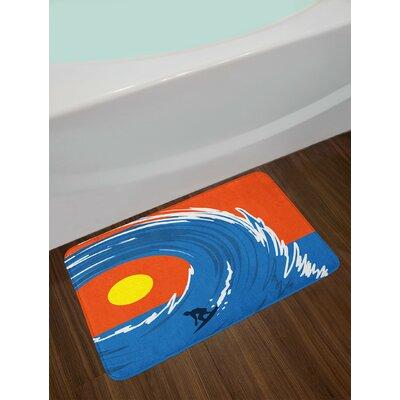 Man Violet Blue Scarlet Ride The Wave Bath Rug