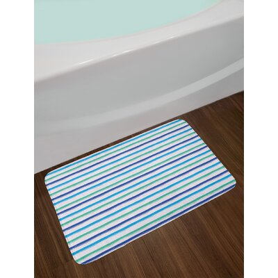Brushstroke Royal Blue Seafoam Harbour Stripe Bath Rug