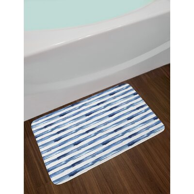 Watercolor Night Blue White Harbour Stripe Bath Rug