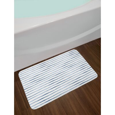 Abstract Night Blue White Harbour Stripe Bath Rug