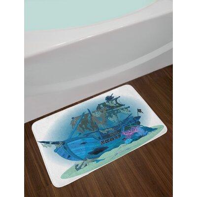 Sunken Blue Almond Green Pink Pirate Ship Bath Rug