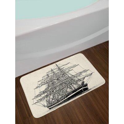 Sailing Cream Black Pirate Ship Bath Rug