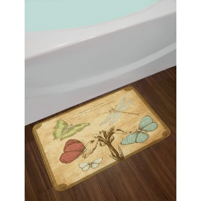 Retro Sand Brown Caramel Dragonfly Bath Rug
