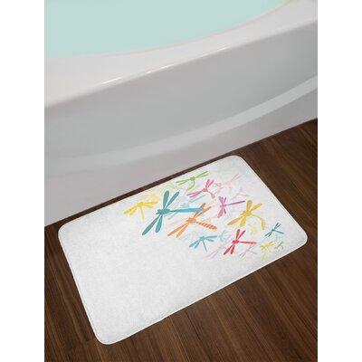 Silhouette Multicolor Dragonfly Bath Rug