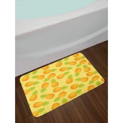 Tropical Marigold Mustard Green Yellow Chevron Bath Rug