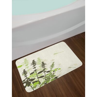 Nature Army and Pale Green Cream Dragonfly Bath Rug