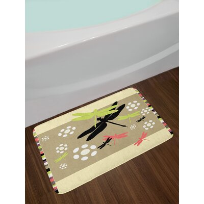 Cute Multicolor Dragonfly Bath Rug