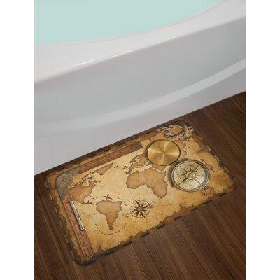 Aged Brown Pale Brown Map Bath Rug