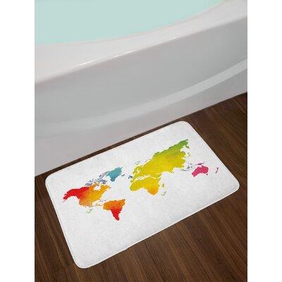 Continents Multicolor Map Bath Rug