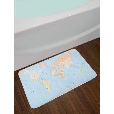 Old Multicolor Map Bath Rug