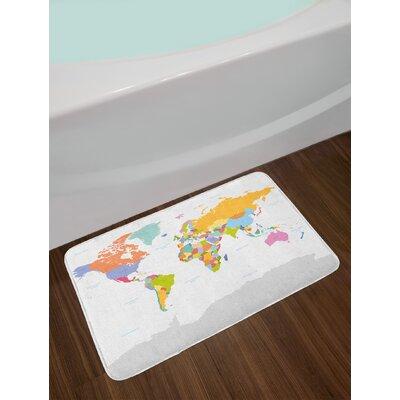 Highly Multicolor Map Bath Rug