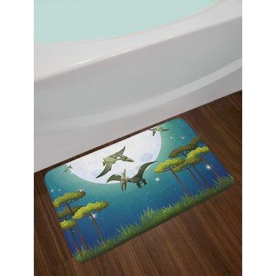 Cartoon Green White Blue Dinosaur Bath Rug